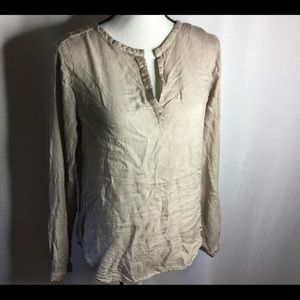 ANTHROPOLOGIE Cloth & Stone Earth-tone Y-Neck Top